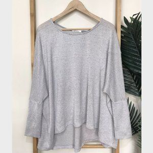 Nicholas Grey Zip Back Knit Top Jumper Relaxed 6